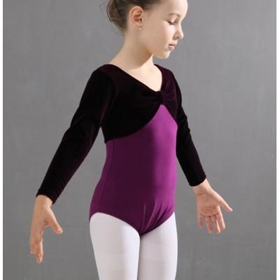 Mordern dance ballet leotards for girls children velvet ballet cometition performance tops bodysuits