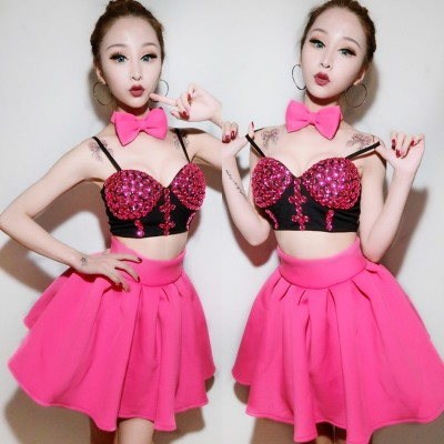 Pink Vintage Jazz Dance Costumes For Lady White Sexy Tops+skirt Women Bar Dj Dancers Stage Sexy Singer Costumes