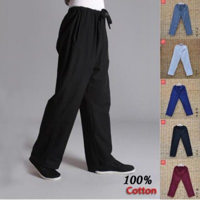 Pure cotton kung fu sports pants practise old-coarse male tang-suit breathable trousers Chinese traditiona tai chi leisure pants