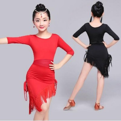 Red Black Half Sleeve Latin Dance Dress Children Girls Salsa/Tango Fringe Dance Costumes Mesh Waist Performance Dress Sexy
