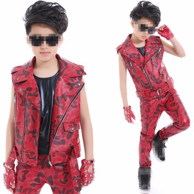 Red camouflage jacket children's street dance jazz dance drum performance clothing