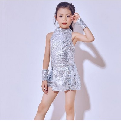 Seqins Tap Jazz Dance Suit Kids Modern Dance costume Stree Stage Dance wear Performance