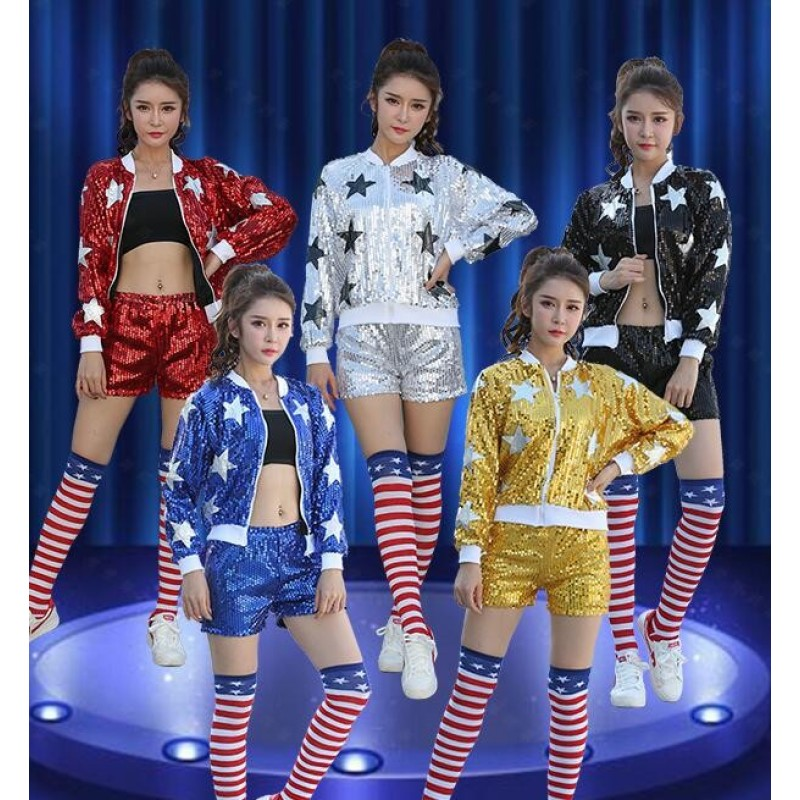 Sequined paillette modern dance women's men's girl's growth cheerleader school jazz hip hop dance costumes outfits