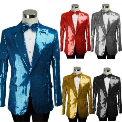 Sequins paillette long sleeves men's man male singer stage performance wedding party cos play jazz dance blazers coat tops