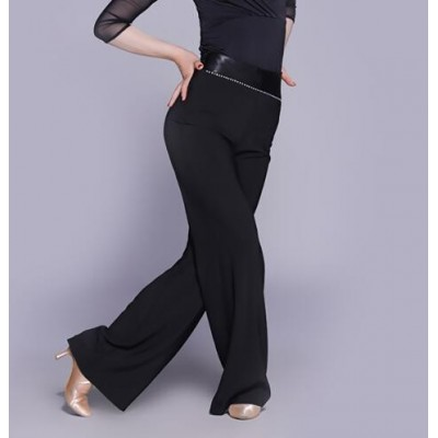 Sexy Ladies Women Latin Dance Pants Crystal Decorated Stage Competition Ballroom Modern Rumba Samba Dancer Trousers