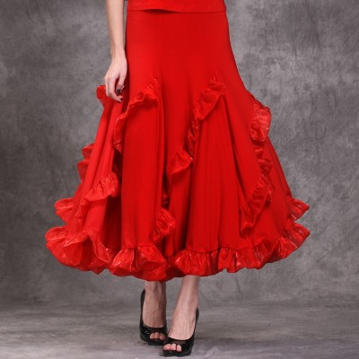 Sexy Lady Ballroom Dancing Skirt Women Red Stage Standard Professional Modern Tango Waltz Jazz Swing Long Skirts