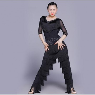 Sexy Latin Dance Suit For Ladies Blue Red Black Original Tassel Shirt Women Perform Tops Professional Flamenco Garments