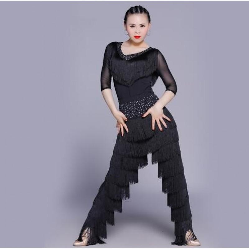 135893695 Sexy Latin Dance Suit For Ladies Blue Red Black Original Tassel Shirt Women  Perform Tops Professional Flamenco Garments