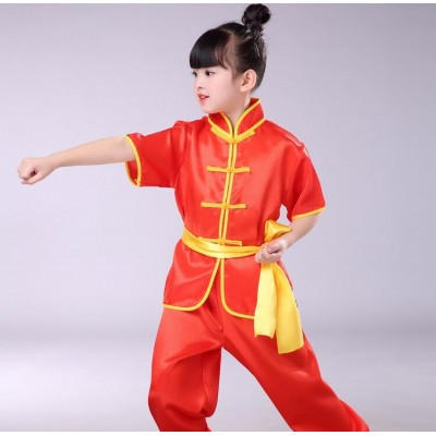 Short Children Tae Kwon Do Wushu arts performance clothing children's martial arts clothing boys and girls Tai Chi clothing practice clothes martial arts training suits