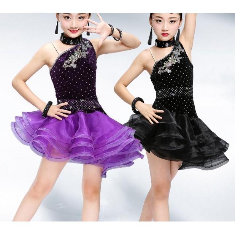 Strapped Black Latin Dress Girls Velvet Ballroom Latin Dance