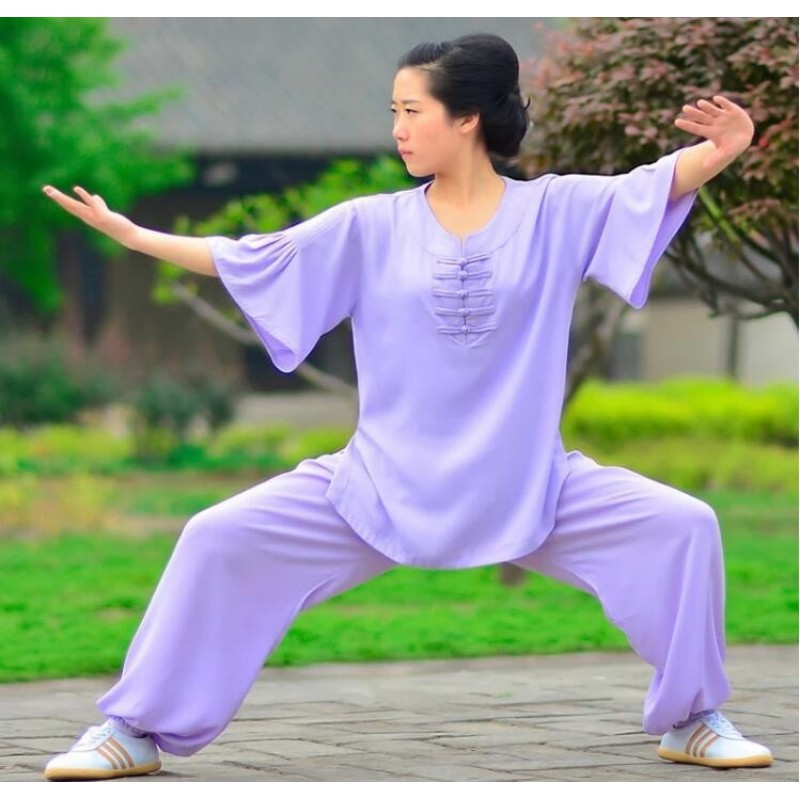 Summer flax suit for lady Tai Chi performing Tai chi