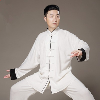 Tai chi Kung fu wushu clothes linen material for women men unisex martial sports fitness exercises performance uniforms