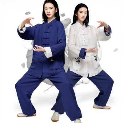 Tai Chi Uniforms for women men linen Embroidery pattern sports fitness exercises pratice  Wushu Martial stage performance clothes