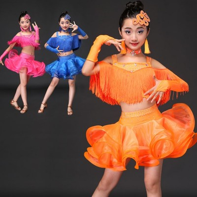 Tassel children Latin dance costumes women practicing service Latin dance dress performance dress dance performance