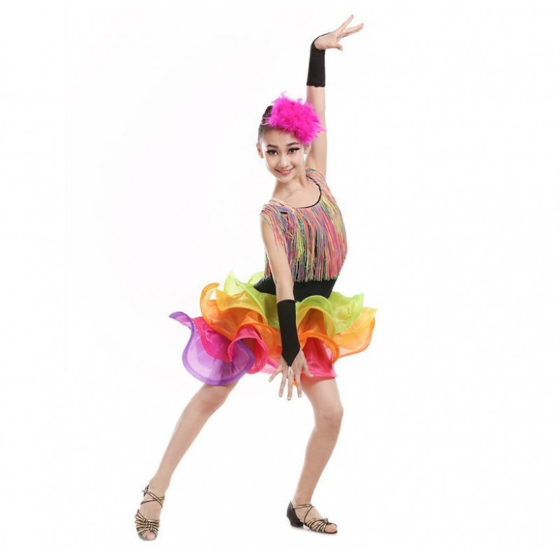 tassel latin dance dress for girls salsa spandex rumba tango children ballroom latin dresses kids samba