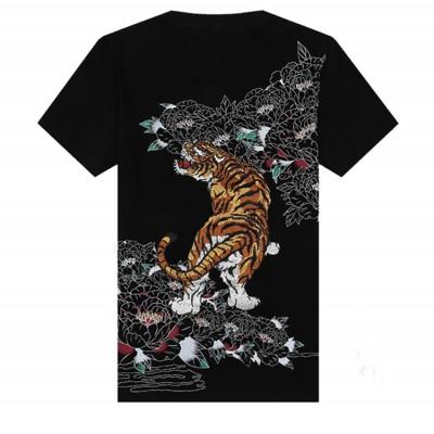 Tiger Embroidery t shirt Men's Round Neck Cotton kung fu Shirts Men Black White Plus Size Shirt