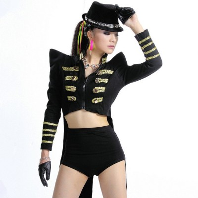 tuxedo dj female singer magician ds costumes fashion coat dance jazz clothing bodysuit stage dress tail performance