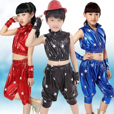 Unisex Kids Clothing Set Hip Hop Performance Clothing Short Pants Jazz Dance Costumes