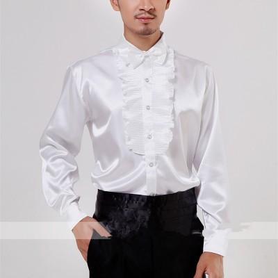 White lotus leaf performance shirt men performance costume competition chorus dress chorus performance bow tie