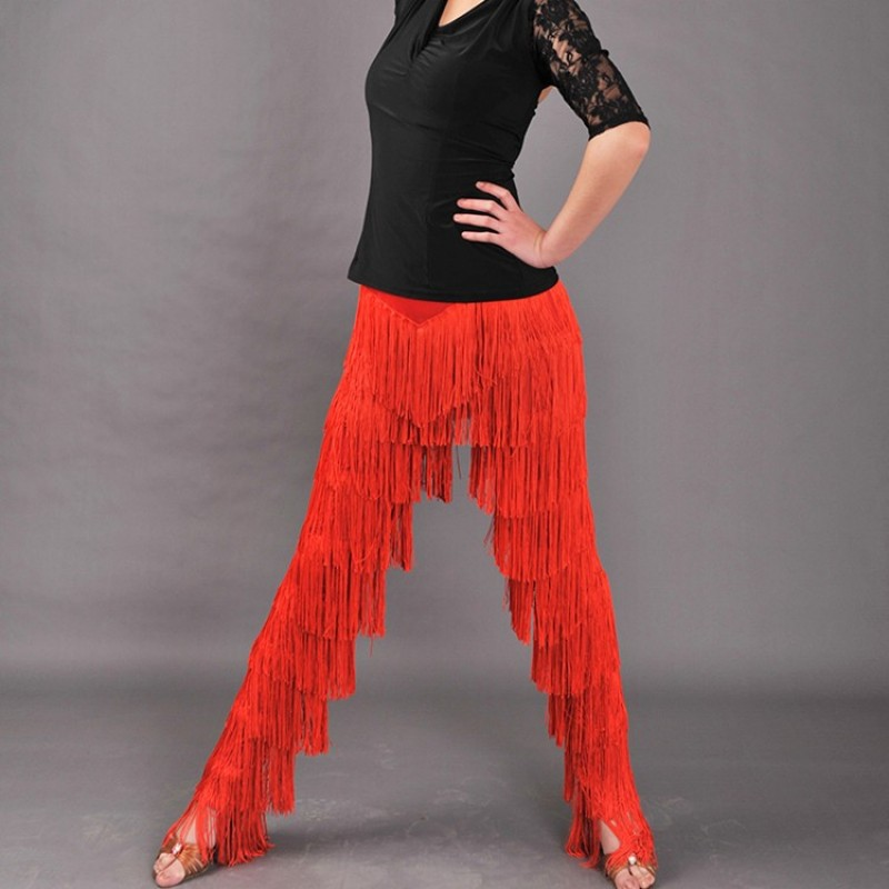 women  latin dance pants girls Red black tassel black latin Tango Dance cha cha latin dance fringe pants trousers