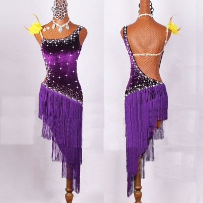 Women Latin Dancing Costumes Lycra Net Top Tassel Skirt Salsa Samba Rumba India Ladies Fringe Latin Dance Dress