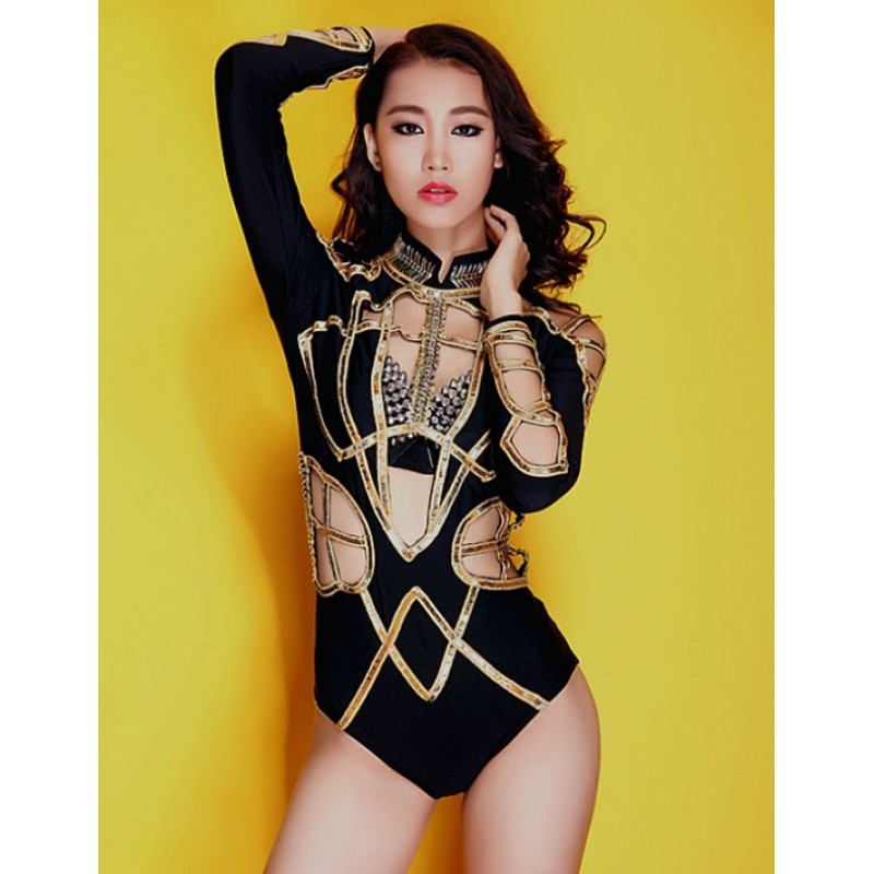 Women Performance Clothing Dj Female Singer Combination Ds Costume Hollow Long Sleeve Sexy Bodysuit Jazz Dance Wear