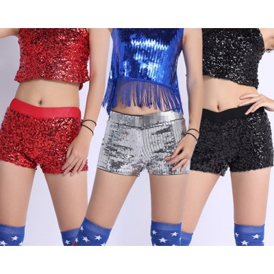 Women Sequins jazz Shorts Elastic Booty Short with High Waist Silver Black Gold Red DS hip hop jazz Sparke Shorts Outfit