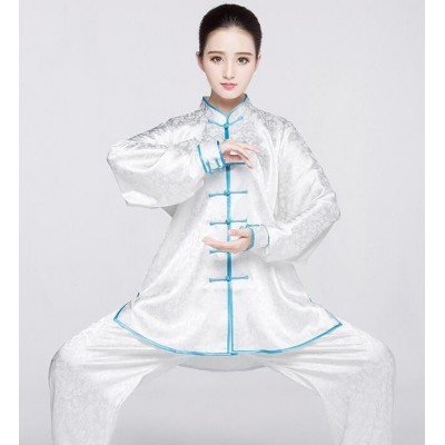 Women's china style kung fu clothes wushu martial sports fitness performance tops and pants uniforms