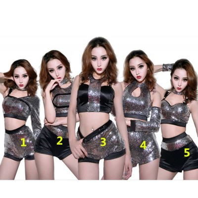 Women's jazz dance outfits girls silver paillette lead singers cheer leaders  hiphop group dancers competition show performance photos cosplay costumes