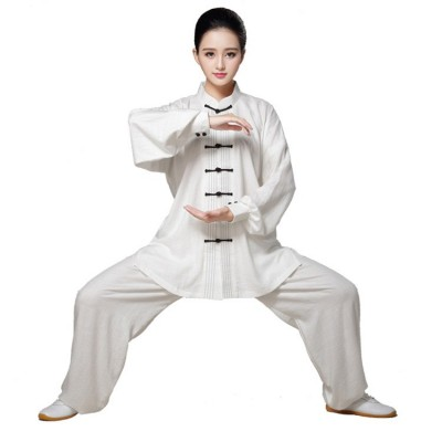 Women's Tai chi uniforms female linen Sports fitness wushu martial morning exercises practice Kung fu clothes