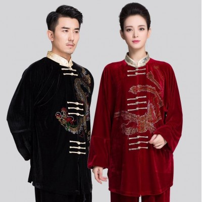 Men Tai Chi Clothing  Winter Martial Art Suits Taichi Clothes Kungfu Clothing Warm Wushu Costume Taiji Uniform Rhinestone Dragon Pattern 2 color