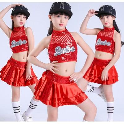 Children's sequins costumes boys and girls jazz dance modern dance costumes pettiskirt children's cheerleading performance clothing Girls Jazz Dance Costumes