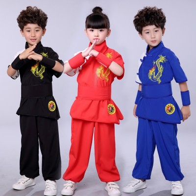 Boys Tai Chi &Kongfu Uniforms Children's martial arts clothing training clothing long sleeve elastic silk Taiji training clothing primary and secondary school students' martial arts performance clothing