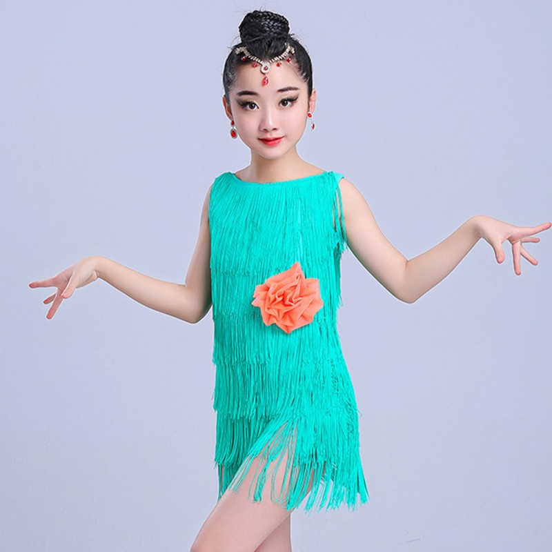 Children layers fringes latin dnce dress girls competition tassels latin dance costumes