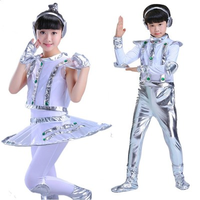 Children's costumes dance robot astronaut performance space dance show time for kids clothing unisex dance clothes