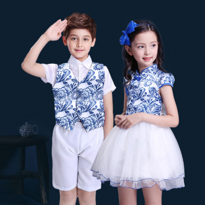 Children's day performance clothing chorus clothing blue and white porcelain children's primary and secondary school students chorus performance clothing men and women