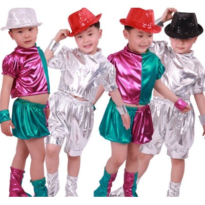 Children's jazz dress, children's silver space suit, hip-hop costume, boys'and girls' modern hip-hop Costume