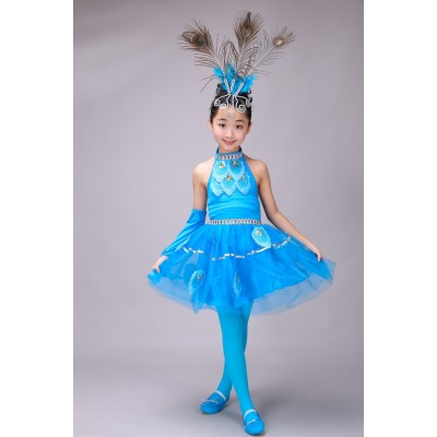 Children's performance costumes children's children's peacock dance skirt girls Dai people dance folk dance performance clothing