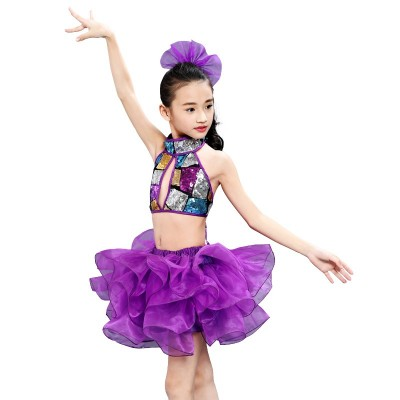 Children's performance dress sequins Pengpeng skirt kindergarten modern dance gauze skirt performance Dress Girls Jazz Dance Dress