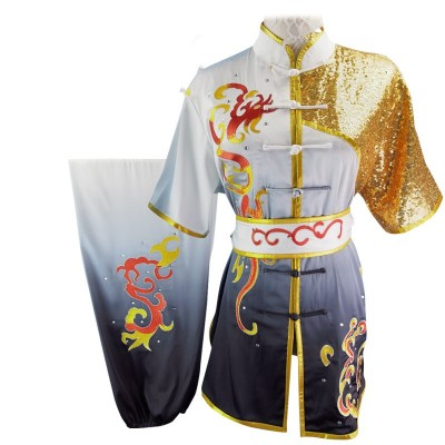 Chinese Martial Arts Clothes Kungfu Clothe Wushu Competition of Hanzi Nanquan Changquan Performing Colorful Clothes, Embroidery Cloud,