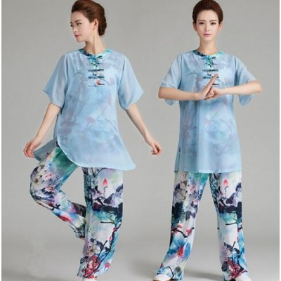 Chinese Short-sleeved Tai Chi Clothing Lightweight Yarn Ice Silk Middle-sleeve Morning Exercise Performance Dress Tai Chi/ Tai Ji, Kung Fu/Wushu sports