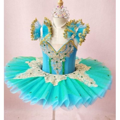 Girls Ballet Dance Dresses Ballet Skirt Children's Performance Dress Swan Lake Pengpeng Skirt with Gauze Skirt Blue-green Swan Dance Tuu Skirt