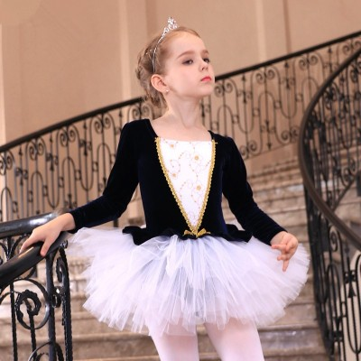Girls Ballet Dance Dresses Children's dance clothes girls' performance clothes Ballet Skirt Pink Gold Velvet children's training clothes long sleeves