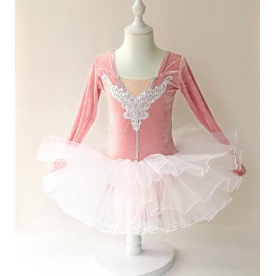 Girls Ballet Dance Dresses Dance clothes children's long sleeve girl's ballet skirt children's examination kindergarten golden velvet training clothes