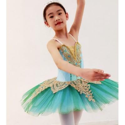 Girls Ballet Dance Dresses Swan Lake Ballet Skirt Children Sleeping Beauty Suspended Ballet Little Swan Tutu Pompon Skirt Professional Performance Dress