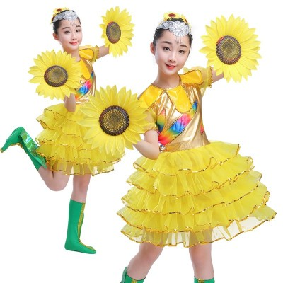 Girls Jazz Dance Costumes children school concert modern dance sun flowers dancing costumes