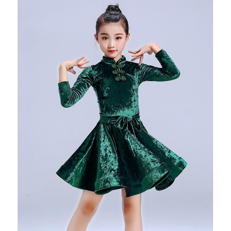 Girl's Latin dance dress girl's long sleeve velvet Latin training clothing children's examination competition performance clothing