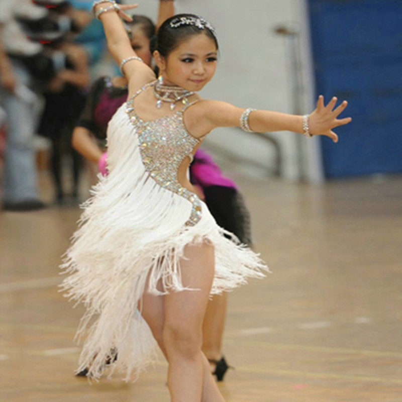 Girls Latin Dance Dresses Children's fringed Latin dance skirt children's girls Latin dance dress competition performance clothing sequins skirt
