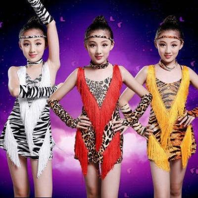 Girls Latin Dance Dresses Children's Latin performance clothes girl's Latin leopard fringe bright diamond dance clothes children's competition Latin training clothes