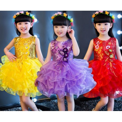Jazz Dance Costumes Girl Princess Skirt Dance Dress Modern Dance Skirt Show Dress